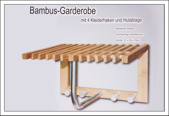 bambus garderobe mit 4 kleiderhaken hutablage wandgarderobe holz handtuchhalter ebay. Black Bedroom Furniture Sets. Home Design Ideas